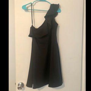 One shoulder black party dress